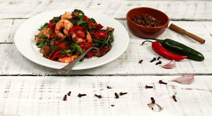 spiced tomato prawns