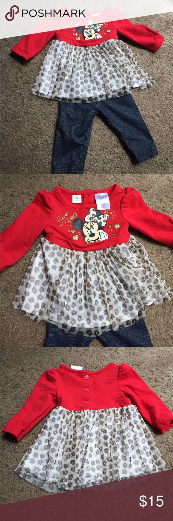 Minnie Cheetah outfit Worn once! Super cute! Smoke-free home! Disney Matching Sets