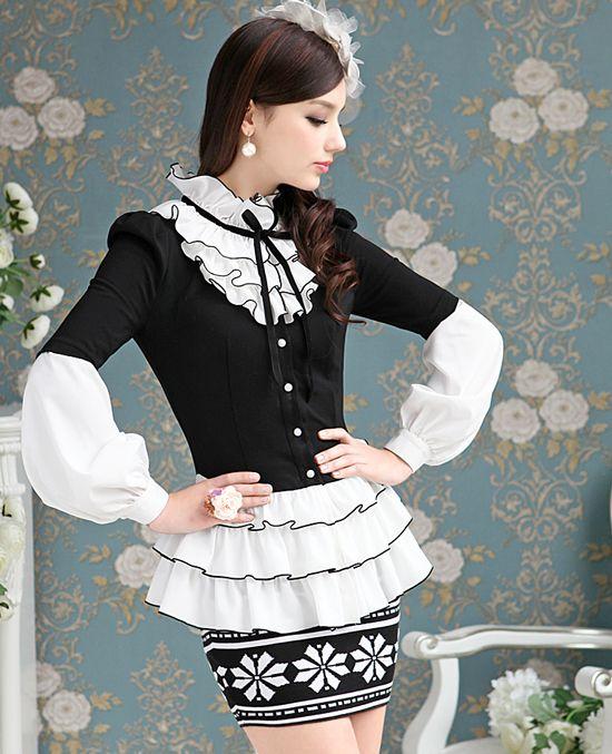 10036 2013 осень черно белый xiangpin многослойная рюшами хем мини платье тонкий женский фонарь рукав рубашки купить на AliExpress