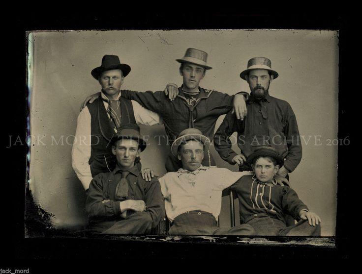 Amazing 1860s Tintype Photo / Handsome Male Friends - Civil War Sailors? | eBay