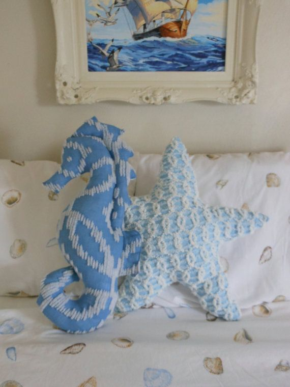 Seahorse Pillow. New Nautical Design. Blue and by searchnrescue2, $55.00