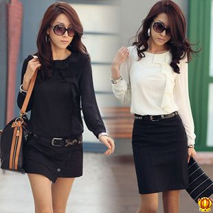 Women chiffon blouse 2013 new long-sleeved blouses frills asymmetrical design fashion jacket free shipping US $15.39