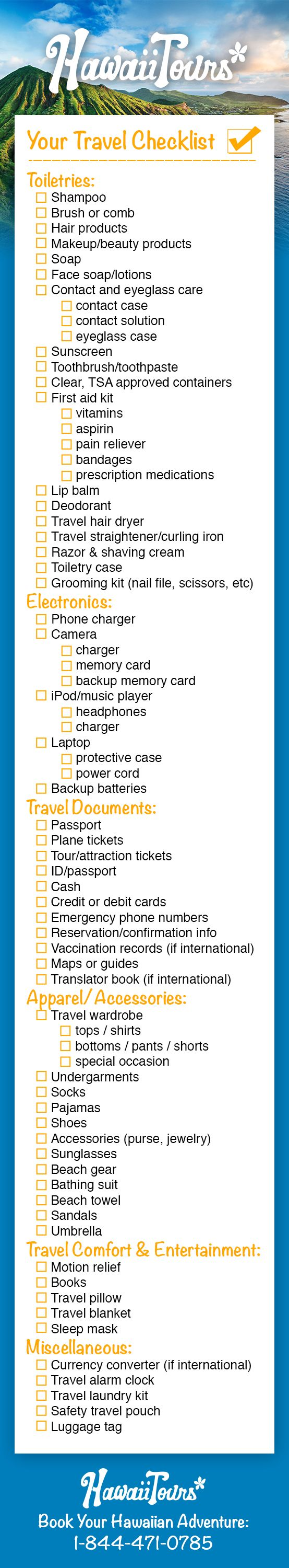 Visiting Hawaii this summer? Don't know what to pack? Here's a travel checklist just for you!  Book your Hawaiian adventure:  https://www.hawaiitours.com/