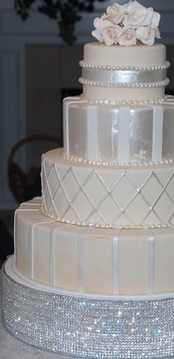 An oh so elegant wedding cake with white and silver not for Beautiful cake stands