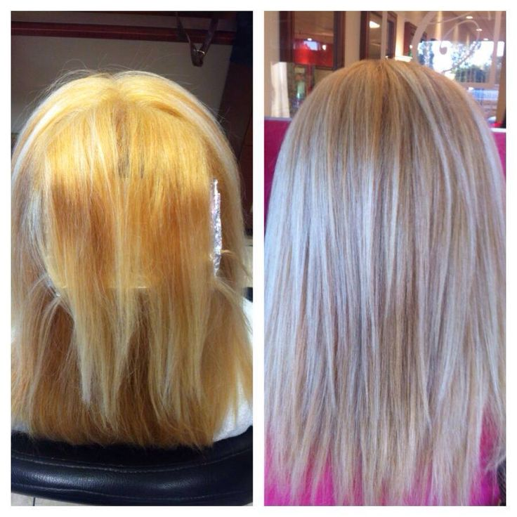 Color Correction From Orangey Blonde To Soft Cool Blonde