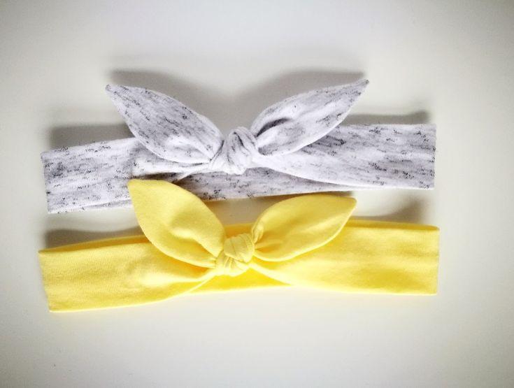 Dwie opaski pin up żółta szara melanż biała - MadebyKaza - Opaski dla niemowląt