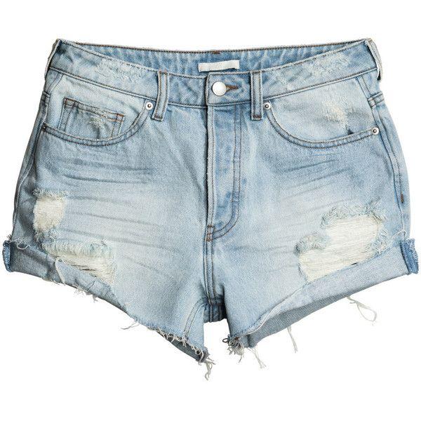 Farkkushortsit Trashed 19,99 (26 CAD) ❤ liked on Polyvore featuring shorts and h&m
