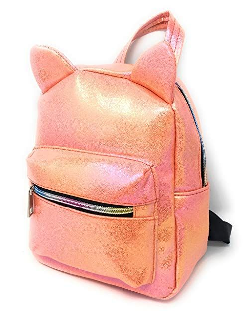 5e3bfb4e4479 Holographic Mini Backpack for Girls  Cute Metallic Cat Backpack Purse Comes  in 3 Colors Purple