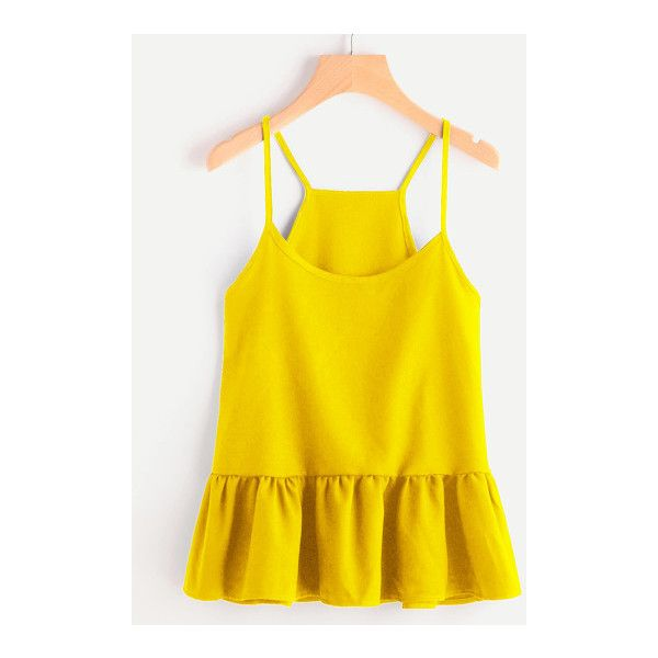 SheIn(sheinside) Drop Waist Frill Hem Cami Top ($9) ❤ liked on Polyvore featuring tops, yellow, ruffle top, yellow top, yellow tank top, spaghetti strap cami and yellow cami