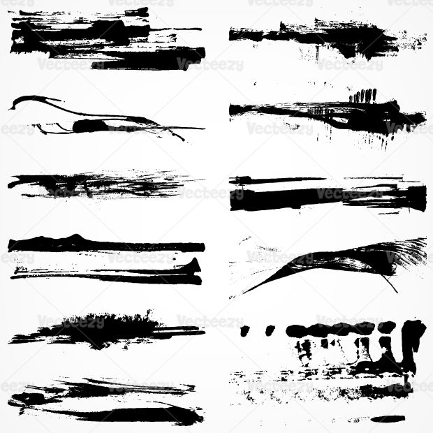 Dry grungy paint stroke vector pack