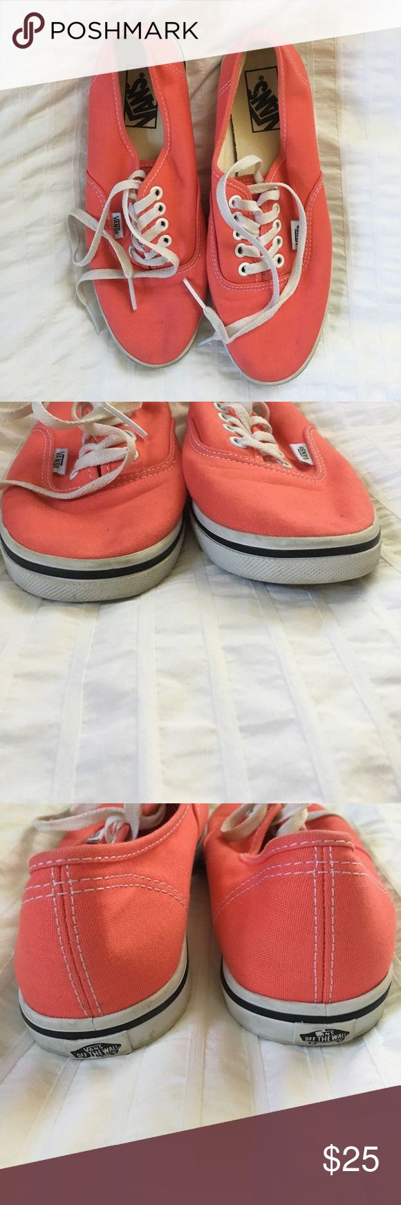 Selling these Coral Vans sneakers on Poshmark! My username is: emmachap. #shopmycloset #poshmark #fashion #shopping #style #forsale #Vans #Shoes