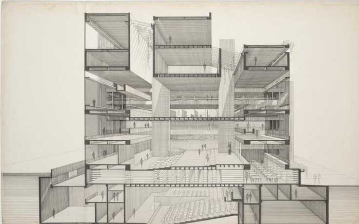 Paul Rudolph, Art and Architecture building, persoective section, 1958
