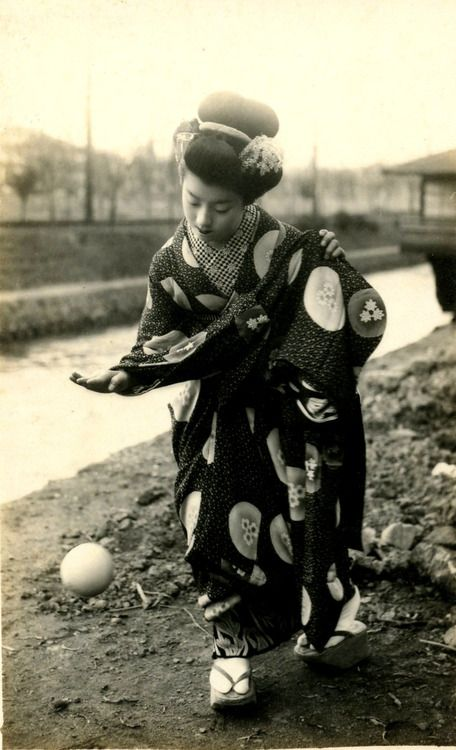 Maiko Hatsuko Playing with a Ball, 1920s. S)