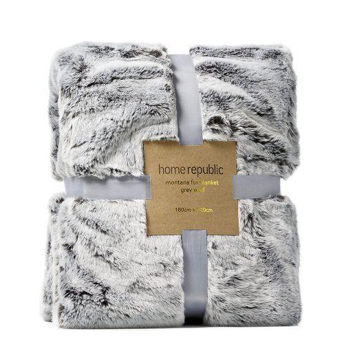 Montana Fur Grey Wolf Blanket