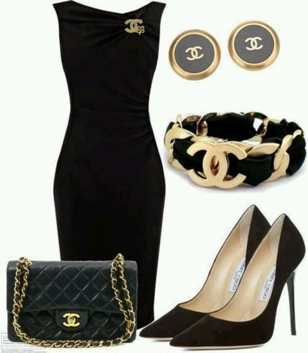 Chanel Little Black Dress And All Of The Chanel Jimmy Choo Goodies To Go With It Outfit