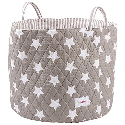 Minene Large Storage Basket with Grey Stars - star storage baskets, round storage baskets, large fabric storage basket - great for toy storage, kids storage and as a laundry hamper Minene http://www.amazon.co.uk/dp/B00PATK1PA/ref=cm_sw_r_pi_dp_2ITXwb1X27JDJ