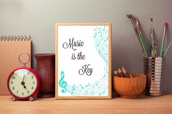 Music Digital print Music is the key Wall by SimpleWordsByRoxana