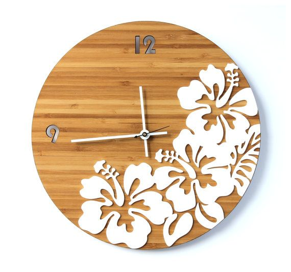 #Clock #HomeDecor #Tropical #Hibiscus https://www.etsy.com/uk/listing/229443985/tropical-hibiscus-flower-wall-clock