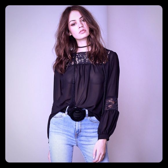 FL&L Sacramento Blouse Size M  NWT For Love and Lemons Black Sacramento Blouse size Medium. Sheer with lace detailing. ✨No Trades✨ For Love and Lemons Tops Blouses