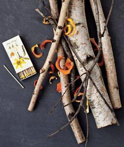 Kick-start a fire with citrus peels. Leave orange or lemon peels on the counter for several days to dry out. Then use the pretty pieces as kindling in your fire pit or bonfire for a fragrant flame starter.