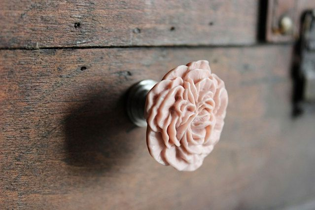 Drawer Knobs Peony Flower in Hibiscus Pink, more COLORS available (RFK02) by DaRosa on Etsy