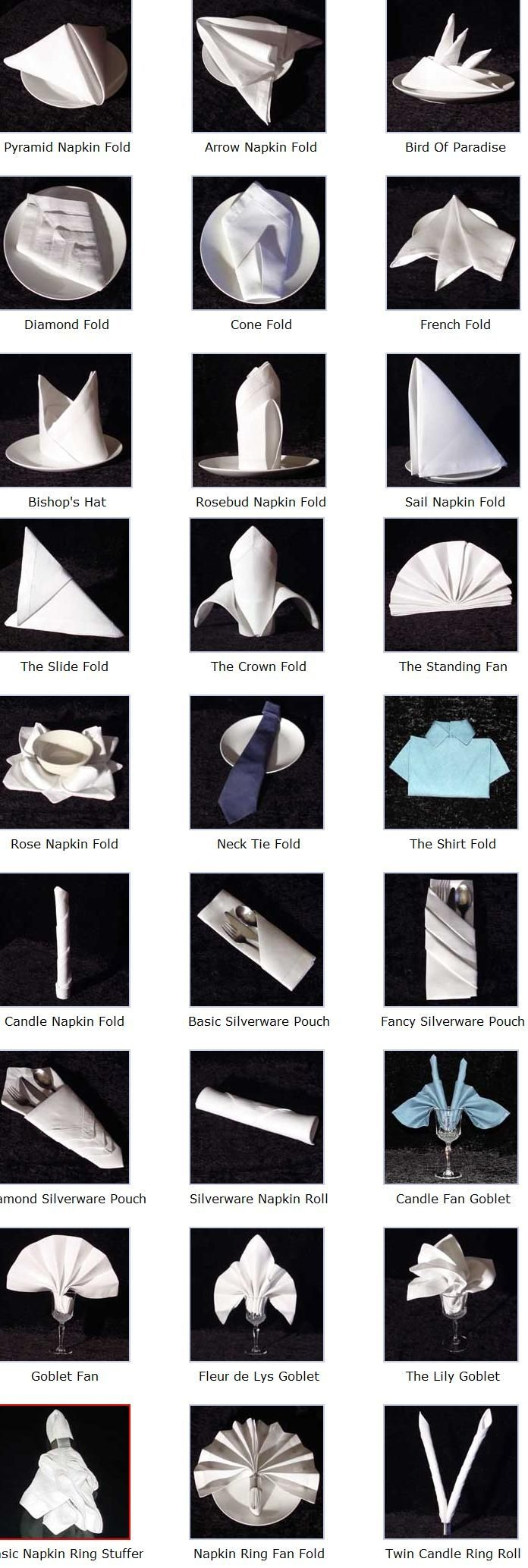 How to fold napkins many ways. This will come in handy during your holiday events! Click on a napkin design below for detailed folding instructions.
