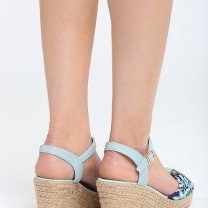 7d0b9d509acb Dámske sandále na vysokom opätku mätovej farby (2)