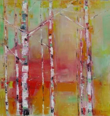 """Saatchi Art Artist Popei Ioan; Painting, """"Birches"""" #art"""