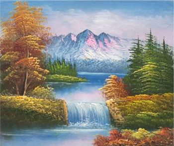 how to draw a waterfall with oil pastels