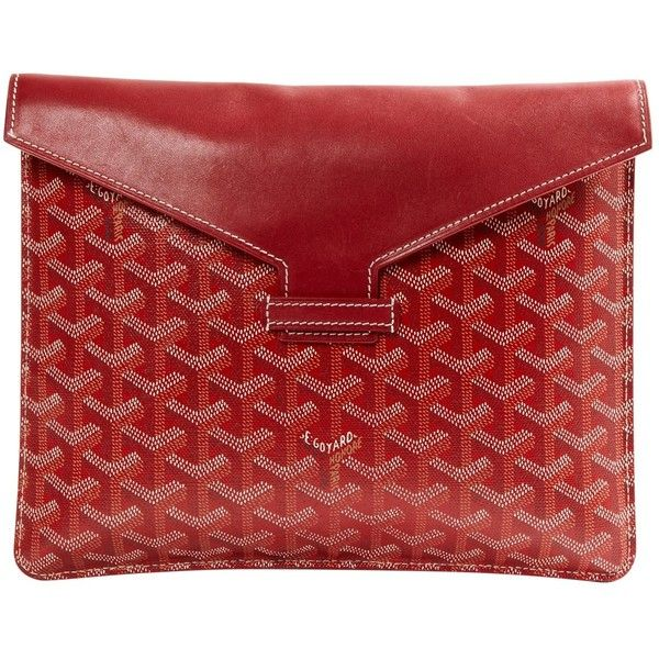 Pre-owned Goyard Leather Clutch Bag (1 075 AUD) ❤ liked on Polyvore featuring bags, handbags, clutches, red, women bags clutch bags, preowned handbags, red clutches, leather clutches, genuine leather purse and red purse