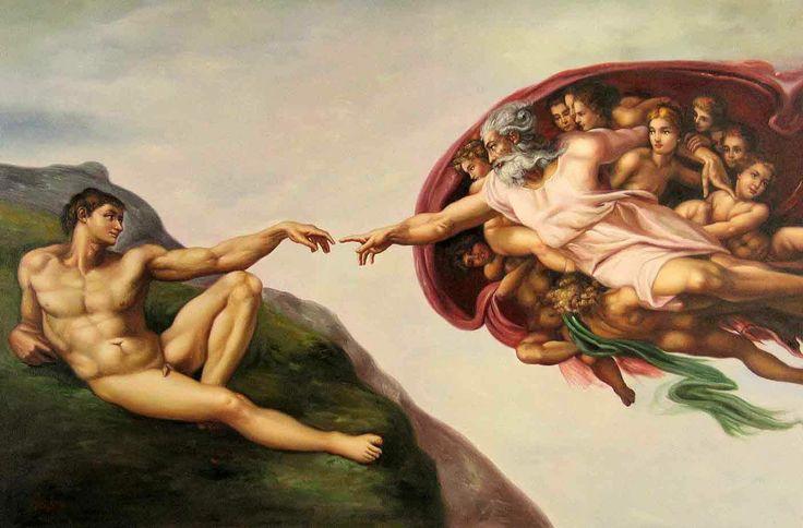 Michelangelo (Italian 1475–1564) [High Renaissance] The Creation of Adam, fresco, Sistine Chapel ceiling, circa 1511–1512. 570 cm x 280 cm (225 in x 110 in). The Vatican.