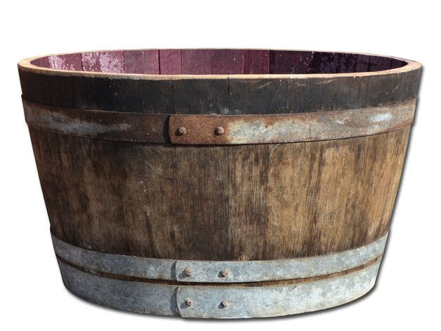 **Maße Holzfass halbiert:**  -     Durchmesser: ca 70 cm -     Höhe: ca 40 cm -     Inhalt: ca. 100 Liter -     Gewicht: ca. 30 kg -     Material: Eichenholz   **Zustand:**  -     Holz...