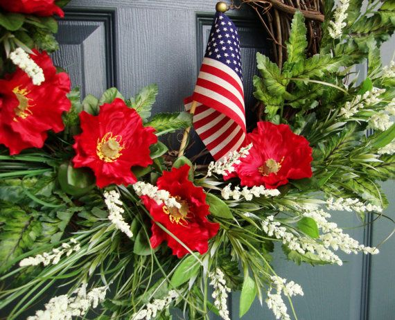Red Poppy Wreath Memorial Day Wreath and by HomeHearthGarden, $78.00