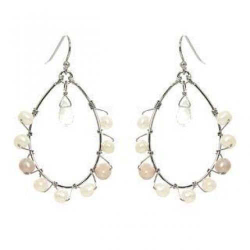 Silver clear quartz, pearl earrings