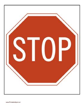 This printable stop sign is red and white, just like those you see on the road! Free to download and print