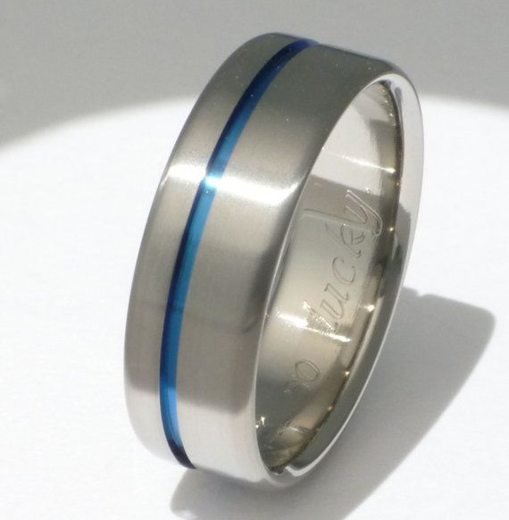 Thin blue line titanium wedding band
