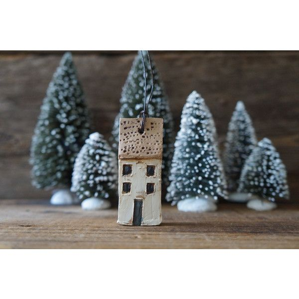 rustic ivory and tan miniature house (€16) ❤ liked on Polyvore featuring home, home decor, rustic home decor and rustic home accessories