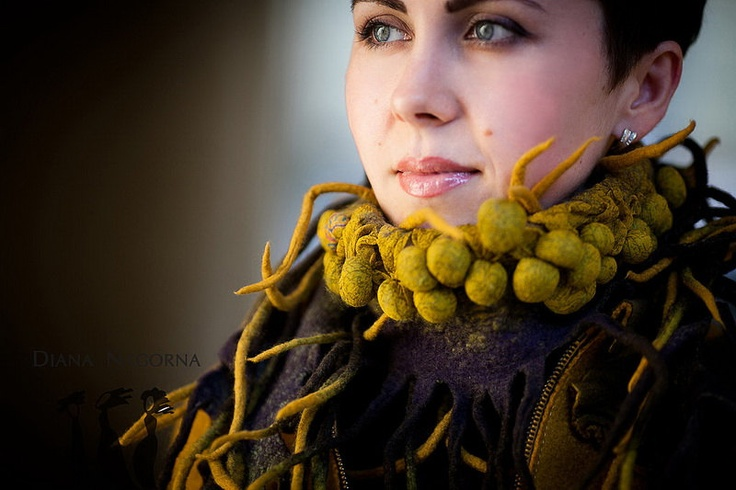 Felted Saffron Scarf by Diana Nagorna