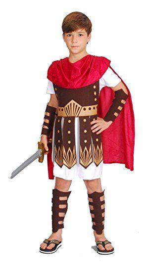 Gladiator Kostum Kinder Rot Weiss Braun Romer Kostum Kinder Jungen