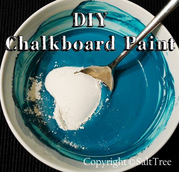 Make It: Chalkboard Paint------  1 Cup of latex house paint or acrylic craft paint 1 TBSP of non-sanded tile grout Mix together until there are no lumps. That's it.