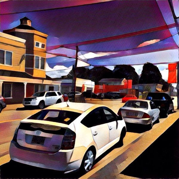 The Steveston street. This #painting was made from a simple photo with a #Prisma app. #Illustration #Steveston #Art #City #drawing