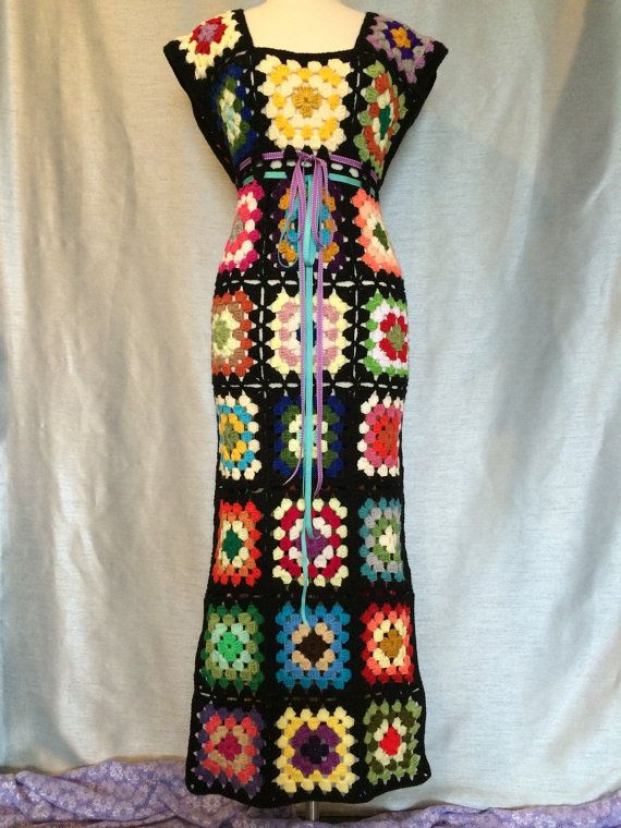 Sale Womens Crochet Granny Square Maxi Hippie Vintage Dress
