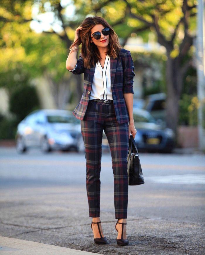 tailleur pantalon femme ecossais