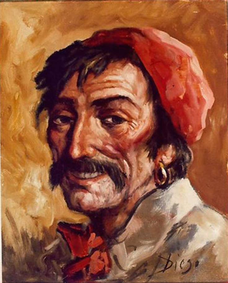 """DiegoVoci™ """"The Gypsy"""" ca. 19"""" x 15"""", oil on canvas.  """"Two valuable paintings on display in the lobby of The Lodge at Vail were discovered missing Sunday morning, according to Marsha Largent, representative of the Diego Voci art display.""""    """"The two paintings, entitled """"The Gypsy"""" and """"Group of Fishermen"""" are part of a display of the paintings of Diego Voci, a world-renown Italian contemporary artist.""""   Any information of the whereabouts, please contact www.diegovoci.com"""