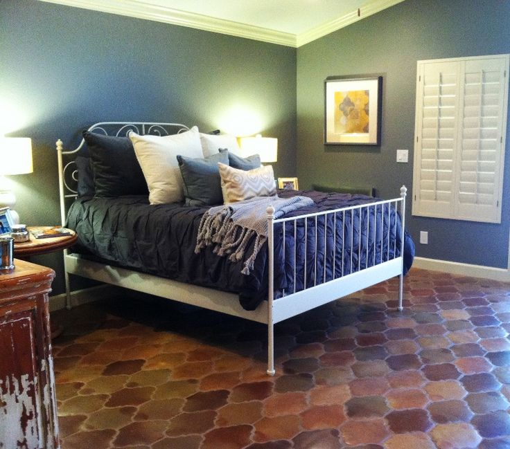Manganese San Felipe Pattern Saltillo Mexican Terracotta Tile In The Bedroom Rustico And Stone
