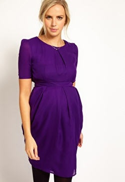 Purple ASOS maternity dress with black leggings