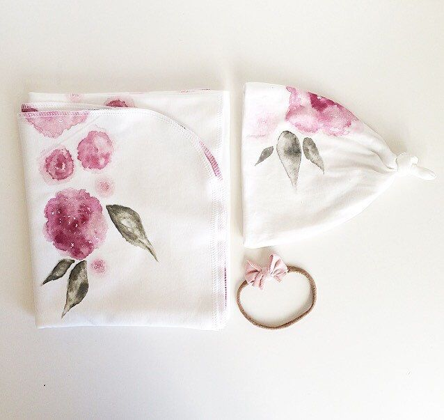 Baby Swaddle Blanket - Watercolor Floral Swaddle and Beanie Set, Exclusive print to Finn & Olive by finnandolive on Etsy https://www.etsy.com/listing/245838571/baby-swaddle-blanket-watercolor-floral