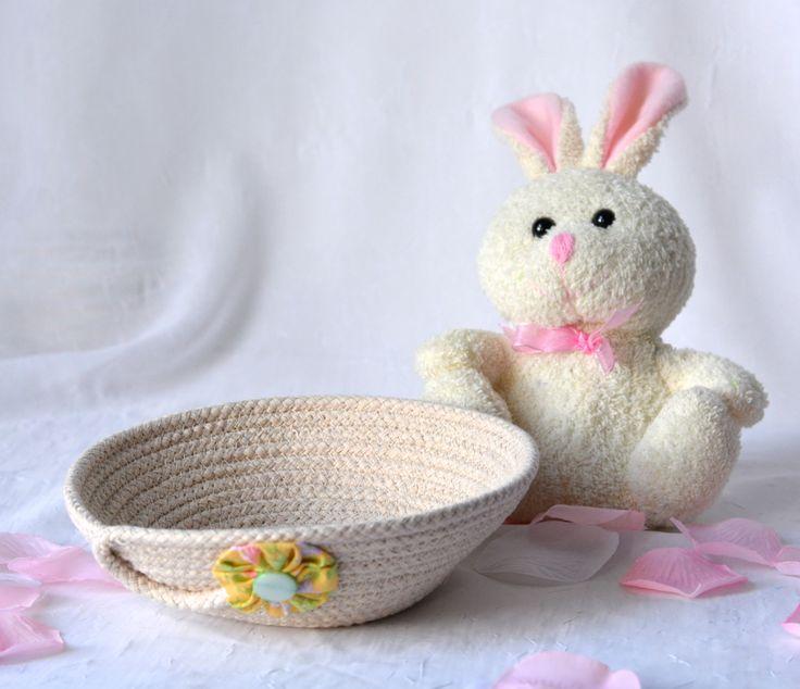 Easter Basket Filler, Handmade Rope Basket, Modern Clothesline Basket, Lovely Candy Dish, Cute Desk Accessory Basket, hand coiled basket by WexfordTreasures on Etsy