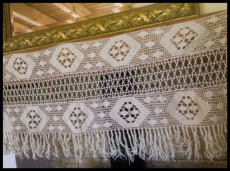 """One Vintage, Shabby Chic, Filet Crochet, Mantelpiece Cover, Cafe Curtain Pelmet Cover with Fringed  edge. 48"""" long, 20"""" wide . FREE SHIPPING by FleursEnFrance on Etsy"""