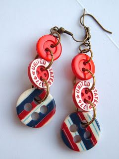 SPANKY LUVS VINTAGE: 1776 Patriotic Recycled Red White and Blue Vintage Button Earrings